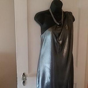 Vince Camuto silver one shoulder dress